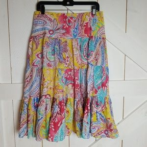 Ralph Lauren boho tired maxi skirt M